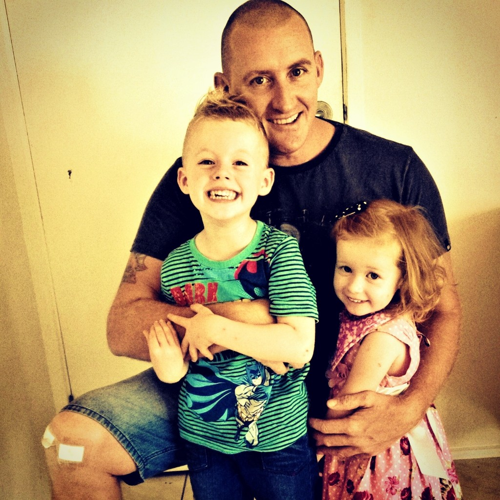 andy and kids, not long out of surgery