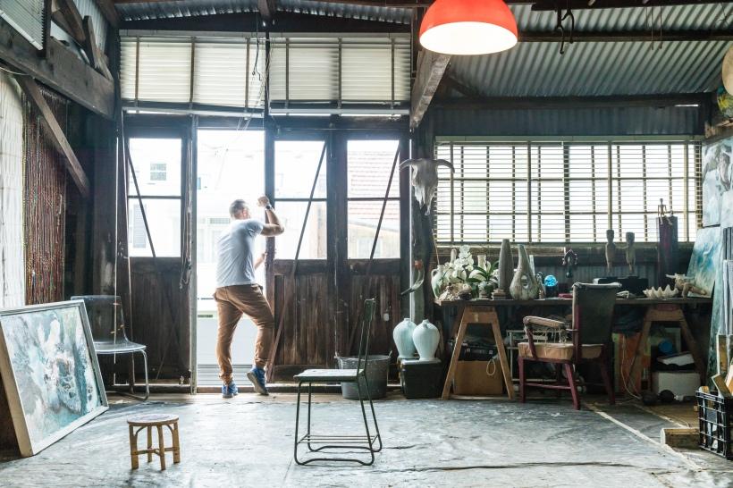 Artist Eduardo Santos in his Sydney Studio